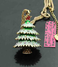 H543GR     Betsey Johnson Shining crystal enamel Christmas tree Pendant Necklace
