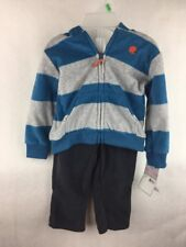 NWT Carter's 2 Piece Outfit Blue & Gray Stripe Jacket & Pants Size 9 Months