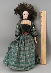 Rare Antique French Milliners Paper Mache & Carved Wood Doll Original Clothes