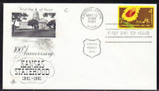 "USA ""Artcraft"" 1961 Kansas Statehood  CACHET First Day Cover"