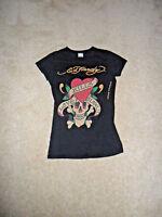 Ed Hardy by Christian Audigier Women KNIT BLACK/SOLID,100%Cotton,XS T-SHIRT USA
