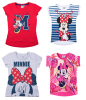 Girls Kids Official Disney Minnie Mouse Short Sleeve T Tee Shirt Top