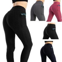 Damen Yoga Leggins Push Up Sport Tik Tok Leggings Fitness Laufhosen Taschen Hose