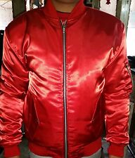 Varsity Letterman Satin Jacket with Red Satin Sleeves all colors Available