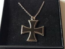 "Iron Cross dr61 Made From Fine Pewter On 18"" Silver Plated Curb Necklace"