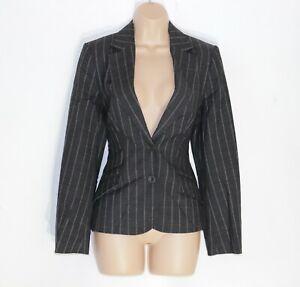 Women's OASIS Fitted Stretch Grey Striped Wool Blend Blazer Suit Jacket UK10