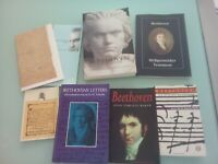 BEETHOVEN AND HIS WORLD, LOT OF 5 BEETHOVEN BOOKS AND SOUVENIRS