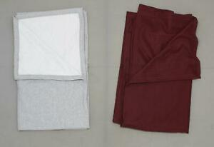 new LOT OF 2 Fleece Throw Blanket Grey / Maroon 50 x 60