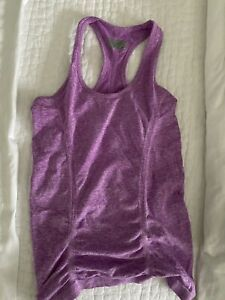 Athleta XS Fastest Track Tank Seamless Tagless Heather Purple Ruched Scoop