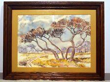 original watercolor landscape South African artist signed framed 1981