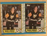 1989-90 Topps & OpeeChee  #1 Mario Lemieux Pittsburgh Penguins 2 Card Lot