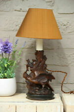 Antique German black forest wood carved Bird table lamp 1900