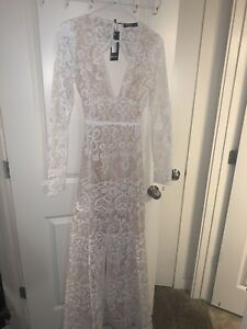 Nasty Gal Lace Plunge Strappy Maxi Dress