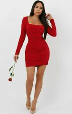 Womens Ladies Red Slinky Square Neck Ruched Bodycon Mini Club Wear Party Dress
