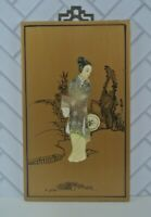 Vintage Japanese Wood and Ivory Picture of a Young Girl