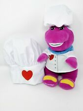 """Barney Chef Plush 12"""" Fisher Price with Child's Hat"""