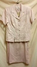 COLDWATER CREEK 2 Pc Pink Embroidered Linen Blend Skirt Set Size 16 NWT