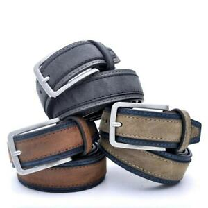 Mens Leather Belt With Classic Silver Buckle Navy Brown Black Grey Luxury Belts