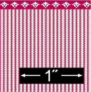 Dollhouse Miniature - 1:24 Scale Wallpaper - BPHAM101R - Ticking - Red