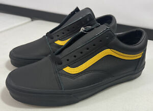 Vans Old Skool Black Yellow Lemon Leather Pop Skate Shoes Men's Size 11.5