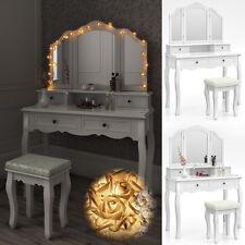 Coiffeuse + tabouret table de maquillage stockage miroir chambre vanité Ambois