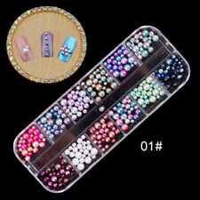 3D DIY Nail Art Mixed Pearl Beads Decorations Glitter Diamonds Ball Box