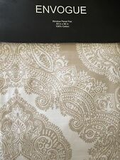 ENVOGUE Beige, Off White Large Paisley Medallion Window Curtain Panel Pair 50x96