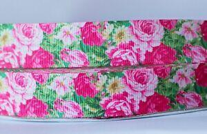 1M X 22mm Grosgrain Ribbon CraftDecorations Hair Bows - Summer Flower