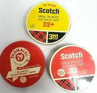 Vintage Scotch 33~Permacel 29 Electrical Tape Metal Can Tin Empty
