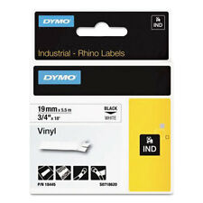 "DYMO Rhino Permanent Vinyl Industrial Label Tape 3/4"" x 18 ft White/Black Print"