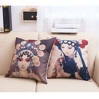 Chinese Style Opera Actress Pattern Cushion Cover Unique Pillow Cases Home Decor