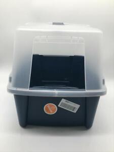 IRIS USA Large Hooded Litter Box, Navy (301902)