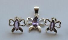 Amethyst Schmuck Set in 925er Silber, lila Amethyst Set im Design Schmetterling