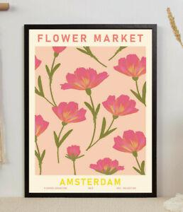 Flower Market Amsterdam, Floral Poster, Modern Art, Gift, Wall Art Decor Print