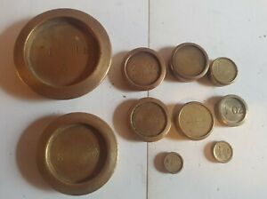 JOB LOT OF 10 VINTAGE BRASS KITCHEN SCALE WEIGHTS