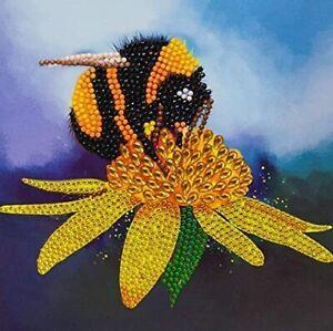 Crystal Art Craft kit by Craft Buddy Bumblebee Card 18x18cms Diamond art NEW