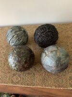 Set Of 4 Bowl Filler Decorative Balls Black Gray Textured