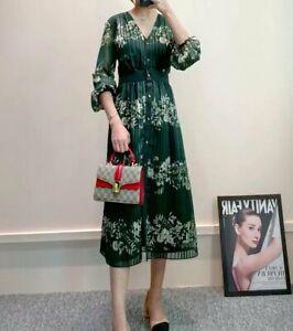 AUTH Ted Baker DELYLA Metallised Long Sleeved V Neck Dress Green, 0-5