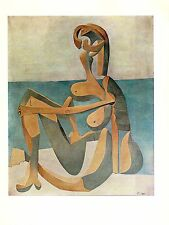 "1964 Vintage PICASSO ""SEATED BATHER"" FABULOUS BEACH GIRL COLOR offset Lithograph"