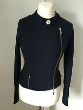 Karen Millen Navy Wool Biker Cardigan Jacket KM 2 UK 10