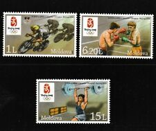 Beijing Summer Olympics mnh 3 stamps 2008 Moldova #581-3 Cycling Boxing Lifting