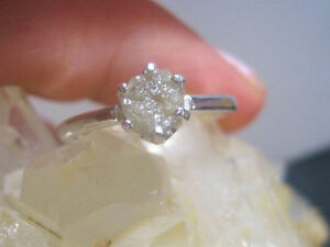 0.63 CT NATURAL WHITE ROUGH RAW UNCUT DIAMOND RING 925 SILVER ENGAGEMENT RING