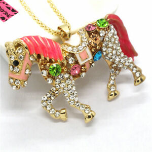 Hot Betsey Johnson Pink Enamel Cute Colourful Crystal Horse Sweater Necklace