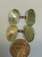 Vintage Gents 9 Carat Yellow Gold PATTERNED CUFFLINKS