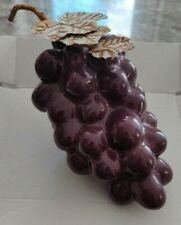 Vintage Ceramic Purple Bunch of Grapes With  Leaves Fruit Ornament