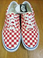 Vans Mens Era Pro Checkerboard Rococco Red White Canvas Skate shoes size 8.5 NWT
