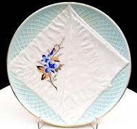 "VICTORIAN GERMAN PORCELAIN OPEN NAPKIN & FLORAL BLUE 8 1/4"" CABINET PLATE 1800s"