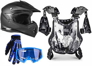 Youth Kids PeeWee Chest Protector Matte Black Helmet Blue Gloves Goggles DOT ATV