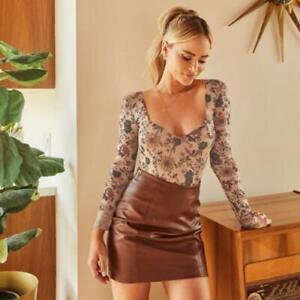 Women's 2021 Sexy Long Sleeves Floral Mesh See Through Elastic Bodysuit Top SKGB