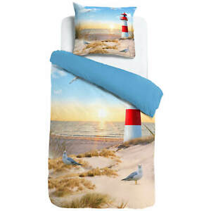 ESPiCO Wende Bettwäsche Sleep and Dream Leuchtturm Bunt Möwe Strand See Renforcé